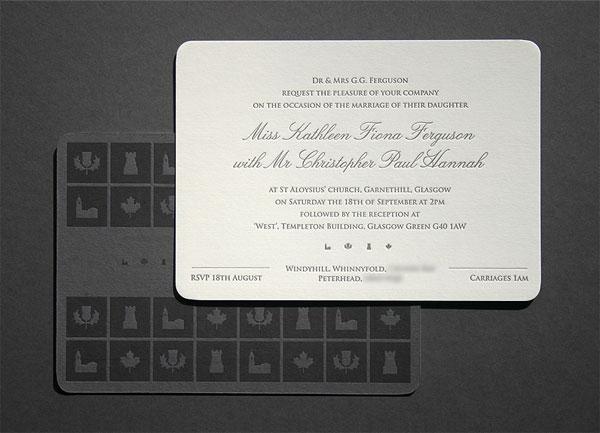 Grey White Letterpress Wedding Invitations