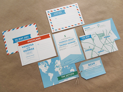 Quirky Travel Themed Wedding Invitations