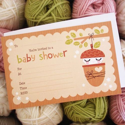 Acorn Baby Shower Fill In Invitations