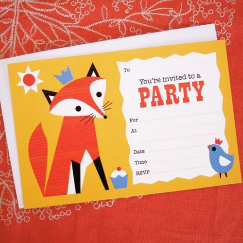 Fox Fill In Party Invitations