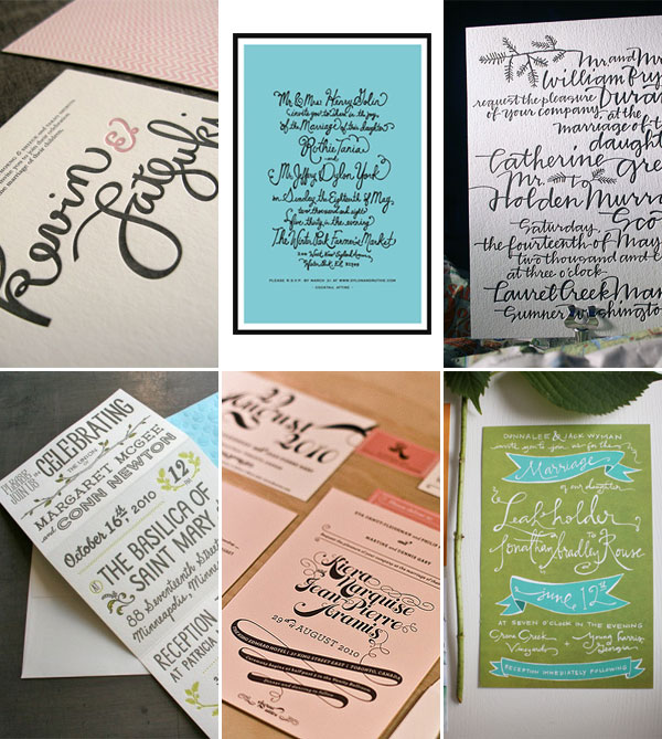 Hand Lettered Calligraphy Wedding Invitations
