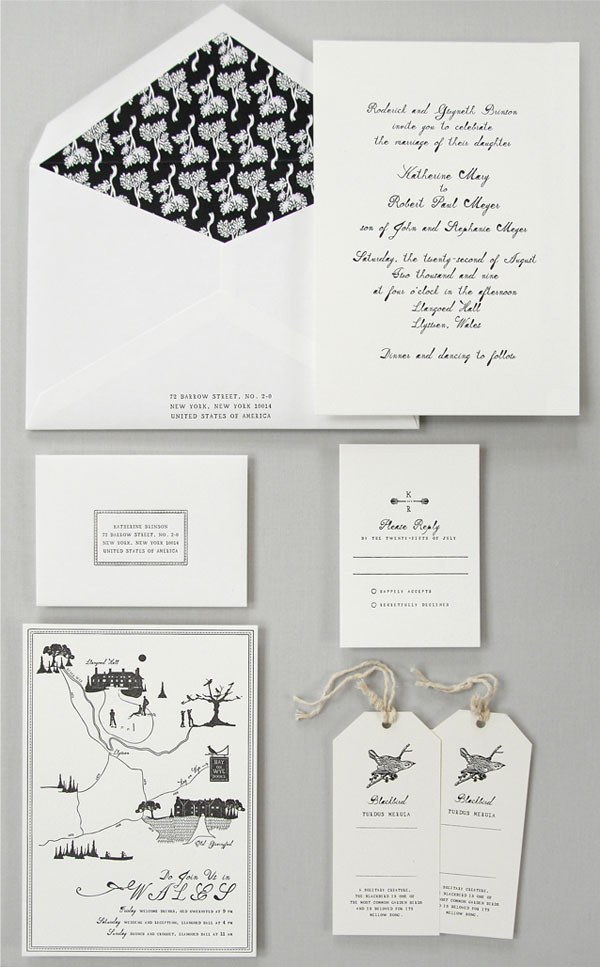 Mr. Boddington Black and White Wedding Invitations