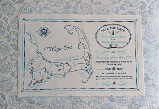 Cape Cod Nautical Map Save the Dates