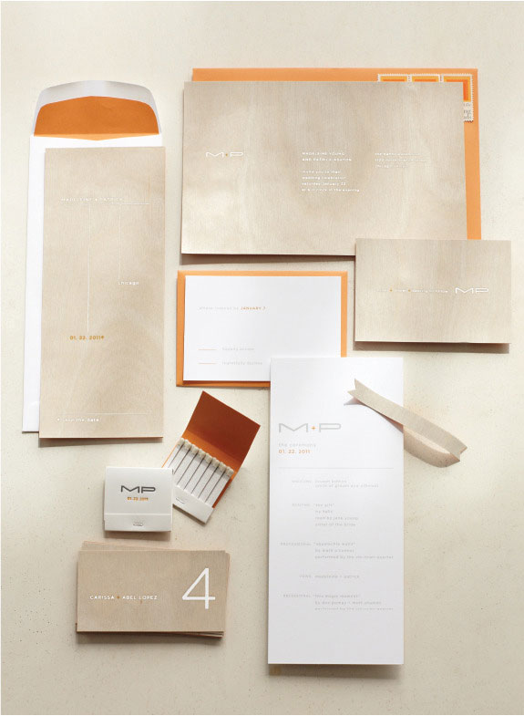 Modern Wood Veneer Wedding Invitations Ditto Paper