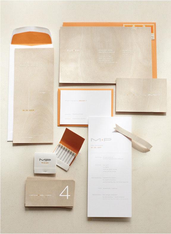 Modern Wood Veneer Wedding Invitations Ditto Paper