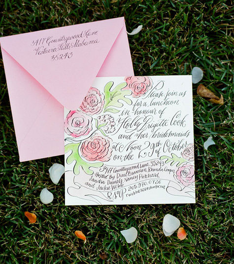 Hand illustrated calligraphy invitations invitation crush