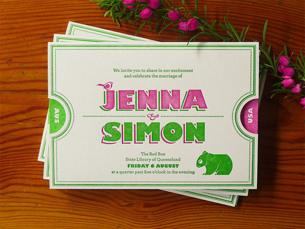 Jenna Simon Letterpress Wedding Invitations