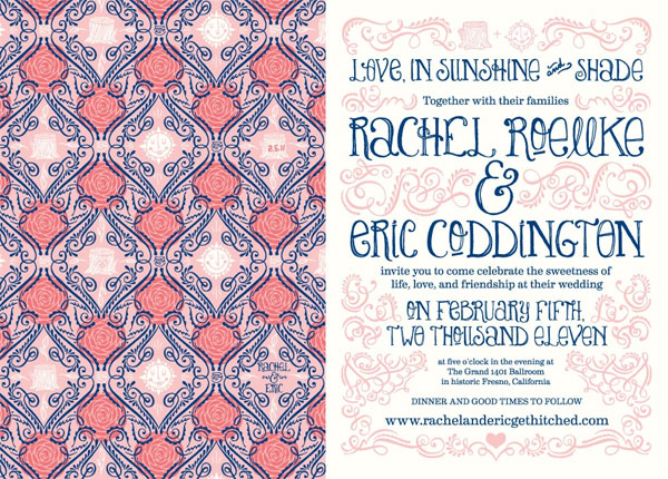 Pink And Navy Blue Wedding Invitations: Rachel + Eric's Whimsical Pink And Navy Invitations