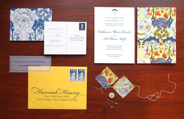 Blue + Yellow Pattern Wedding Invitations