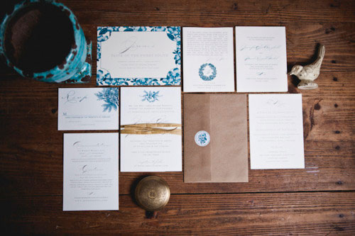 Majolica Blue Kraft Wedding Invitations