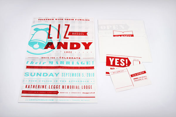 Teal and Red Screen Printed Wedding Invitations