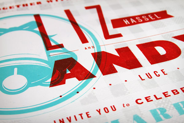 Teal and Red Silkscreen Wedding Invitations