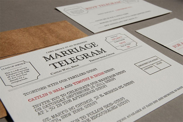 Letterpress Marriage Telegram Wedding Invitations