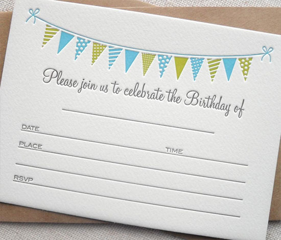 Bunting Fill-In Birthday Invites Blue