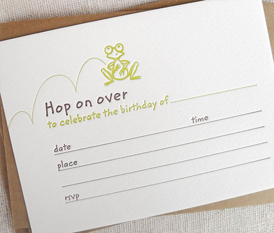 Frog Fill-In Birthday Party Invitations