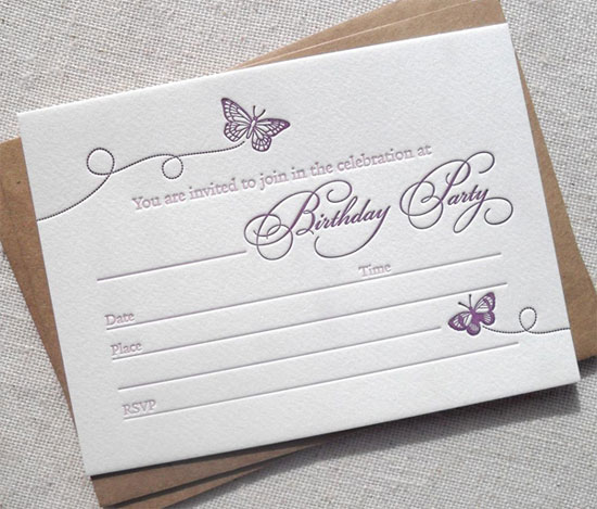 Butterfly Letterpress Fill In Birthday Invitations