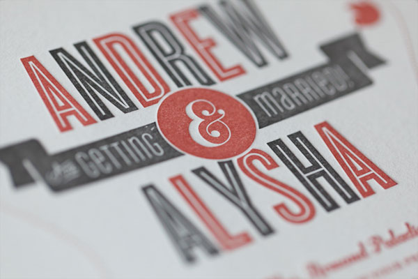 Letterpress Mid Century Modern Wedding Invitations