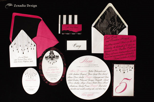 Black Fuchsia Wedding Invitations