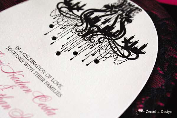 Chandelier Wedding Invitations: Black & Fuchsia Lace Wedding Invitations