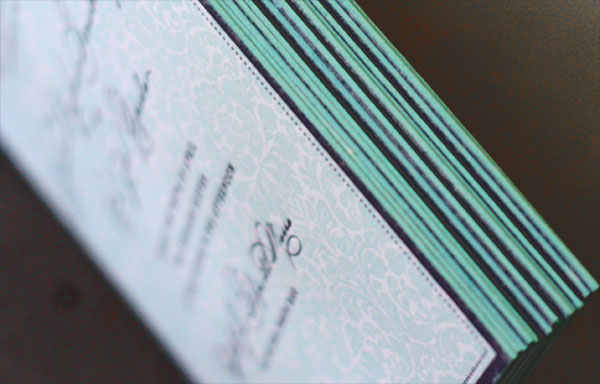 Teal Blue Edge Painted Invitations San Juan Wedding Invitations