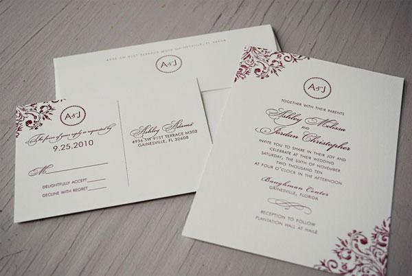 Ashley Jordans Burgundy Monogram Wedding Invitations