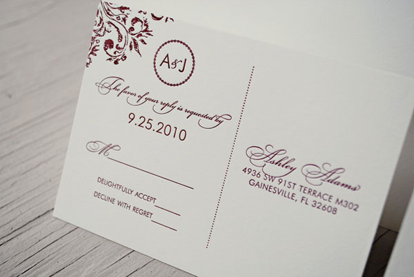 Ashley Jordans Burgundy Monogram Wedding Invitations – Wedding Invitation Monograms