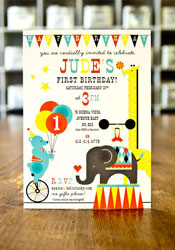 Circus 1st Birthday Invitations