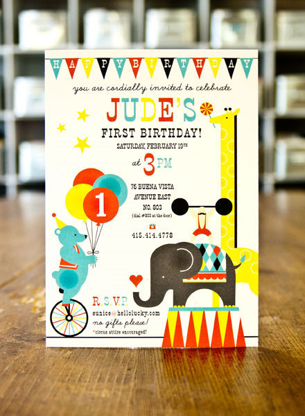CircusThemed 1st Birthday Invites Invitation Crush