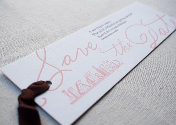 Letterpress Bookmark Save the Dates