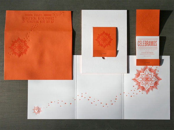 Orange White Letterpress Wedding Invitations