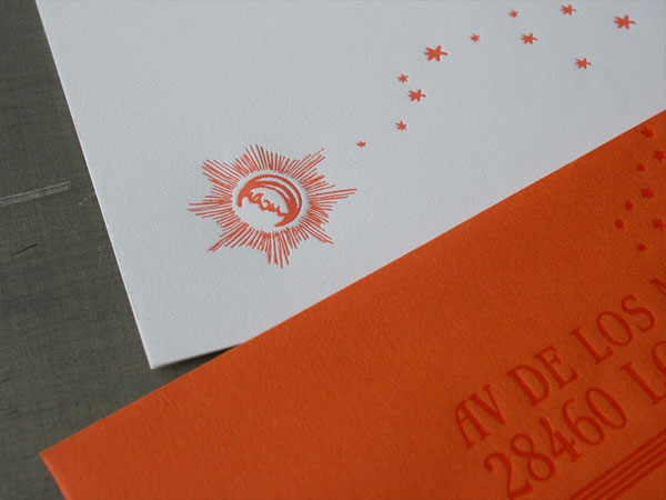 Letterpress Sun Moon Invitations