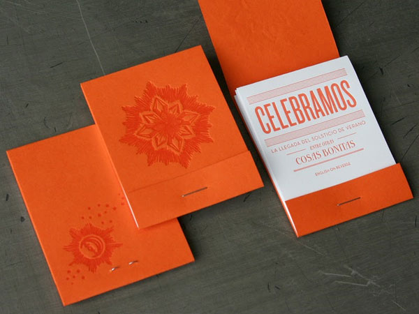 Orange and White Matchbook Wedding Invitations