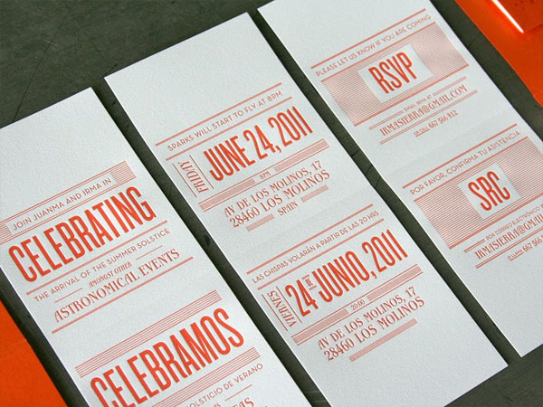 Orange White Letterpress Invitations