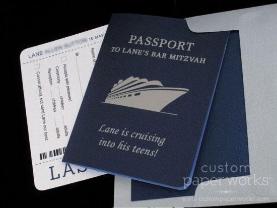 Cruise Passport Bar Mitzvah Invitations