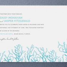 Simple Coral Wedding Invitations