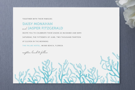 Simple Coral Wedding Invitations Invitation Crush