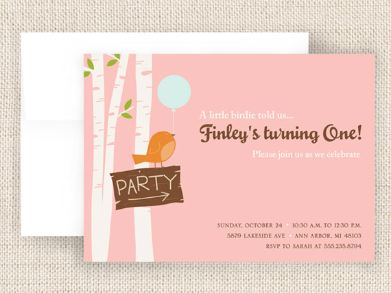 Birdie Birthday Party Invitations