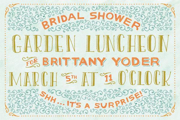 Hand Lettered Bridal Shower Garden Luncheon Invites