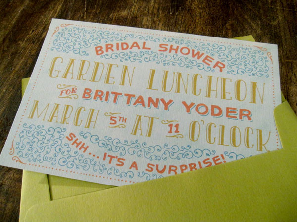 Whimsical Illustrated Bridal Shower Invitations
