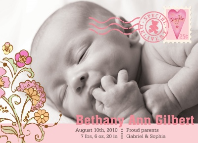 Beary Pink Stamp Birth Announcements