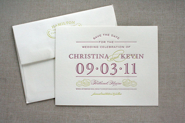 Letterpress Typography Save the Dates