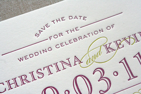 Christina & Kevin's Letterpress Typography Save the Dates