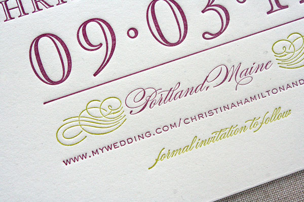 Typography Letterpress Save the Dates