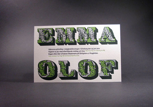 Green and Black Letterpress Wedding Invitations