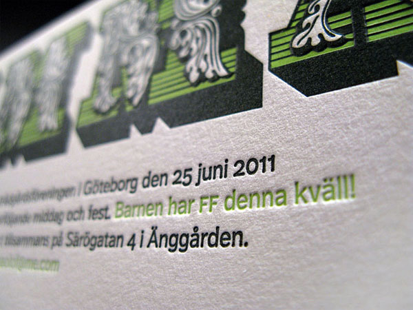 Green and Black Letterpress Wedding Invites