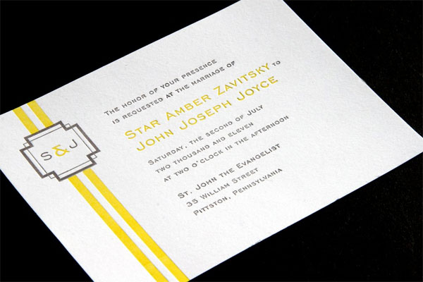 Lauren Yellow + Grey Letterpress Invitations