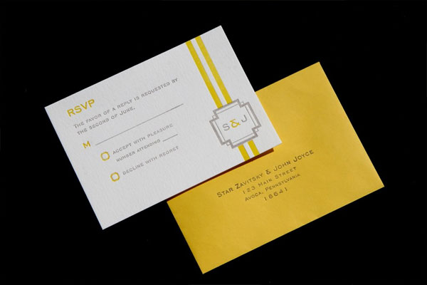 Grey + Yellow Letterpress RSVP Card