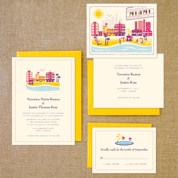 destination wedding invites : boston, miami, and the riviera, Wedding invitations
