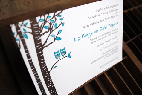 Owl Letterpress Wedding Invitations