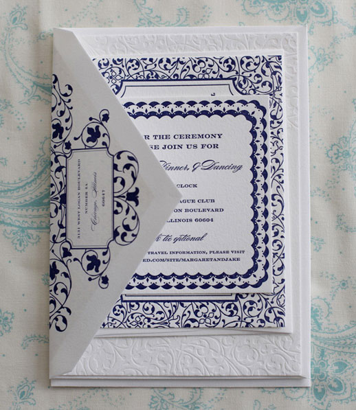 Ornate Navy Blue + White Letterpress Wedding Invitations